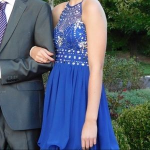 Blue Halter Homecoming dress